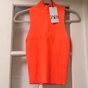 Orange Zara Crop stretchy Turtleneck